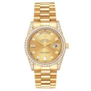 Rolex Champagne Diamonds 18K Yellow Gold President Day-Date 118388 Men's Wristwatch 36 MM