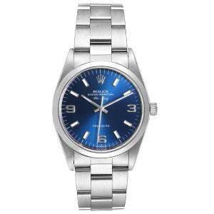 Rolex Blue Baton Stainless Steel Air King 14000 Men's Wristwatch 34 MM