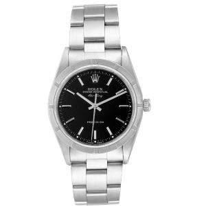 Rolex Black Stainless Steel Air King 14010 Men's Wristwatch 34 MM