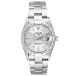 Rolex Silver Stainless Steel Oyster Perpetual Date 15200 Men's Wristwatch 34 MM