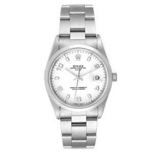 Rolex White Stainless Steel Oyster Perpetual Date 15200 Men's Wristwatch 34 MM