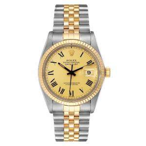 Rolex Champagne 18K Yellow Gold And Stainless Steel Datejust Vintage 16013 Men's Wristwatch 36 MM