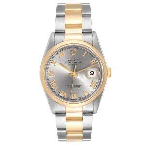 Rolex Slate 18K Yellow Gold And Stainless Steel Datejust 16203 Men's Wristwatch 36 MM