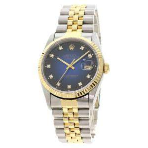 Rolex Blue Diamonds 18K Yellow Gold And Stainless Steel Datejust Automatic 16233G Men's Wristwatch 34 MM