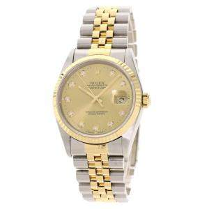 Rolex Champagne Diamonds 18K Yellow Gold And Stainless Steel Datejust Automatic 16233G Men's Wristwatch 36 MM