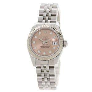 Rolex Salmon Diamonds 18K White Gold And Stainless Steel Datejust 179174G Women's Wristwatch 26 MM