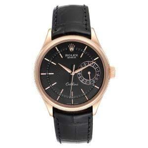 Rolex Black 18K Rose Gold Cellini Date Automatic 50515 Men's Wristwatch 39 MM