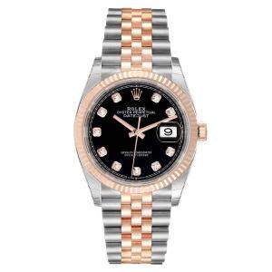 Rolex Black Diamonds 18K Rose Gold And Stainless Steel Datejust 126231 Automatic Men's Wristwatch 36 MM