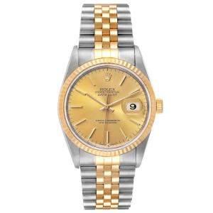 Rolex Datejust Steel 18K Yellow Gold Fluted Bezel Mens Watch 16233 Men's Wristwatch 36 MM