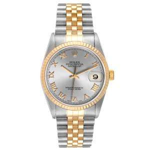 Rolex Slate 18k Yellow Gold And Stainless Steel Datejust 16233 Automatic Men's Wristwatch 36 MM