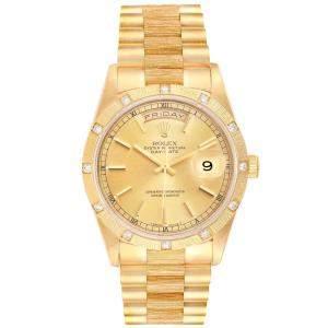 Rolex Champagne 18K Yellow Gold President Day-Date 18308 Men's Wristwatch 36 MM