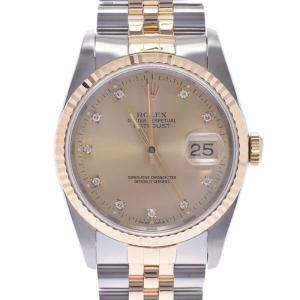 Rolex Champagne Diamonds 18K Yellow Gold And Stainless Steel Datejust 16233G Men's Wristwatch 36 MM