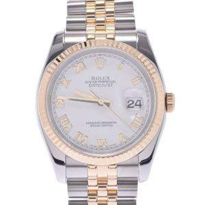 Rolex White 18K Yellow Gold And Stainless Steel Datejust 116233 Men's Wristwatch 36 MM