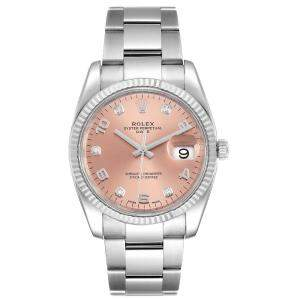 Rolex Salmon Diamond 18K White Gold And Stainless Steel Date 115234  Men's Wristwatch 34 MM