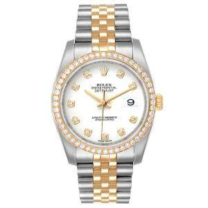 Rolex White Diamonds 18K Yellow Gold And Stainless Steel Datejust 116243 Men's Wristwatch 36 MM