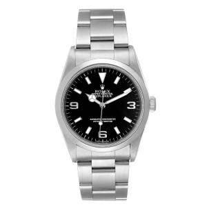 Rolex Black Stainless Steel Explorer I Automatic 14270 Men's Wristwatch 36 MM