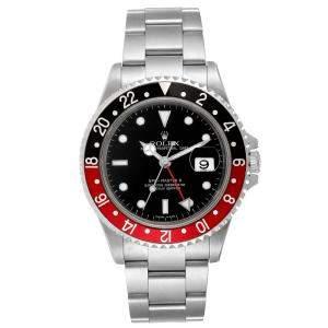 Rolex Black Stainless Steel GMT Master II Red Coke 16710 Men's Wristwatch 40 MM