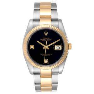 Rolex Black Onyx Diamonds 18K Yellow Gold And Stainless Steel Datejust 116233 Men's Wristwatch 36 MM
