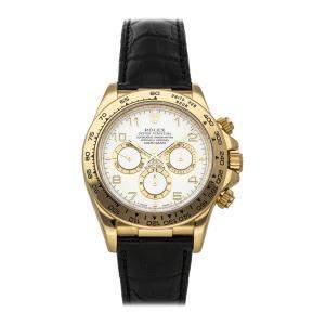 ساعة يد رجالية رولكس كوزموغراف دايتونا 16518 ذهب أصفر عيار 18 بيضاء 40 مم