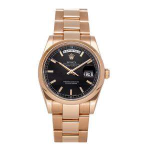 Rolex Black 18K Yellow Gold Day-Date Automatic 118205 Men's Wristwatch 36 MM