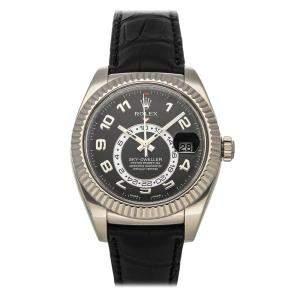 Rolex Black 18k White Gold Sky-Dweller 326139 Men's Wristwatch 42 MM
