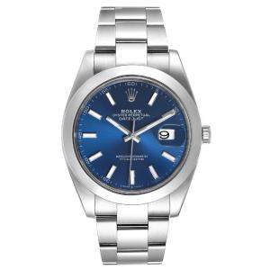 Rolex Blue Stainless Steel Datejust II 126300 Men's Wristwatch 41 MM