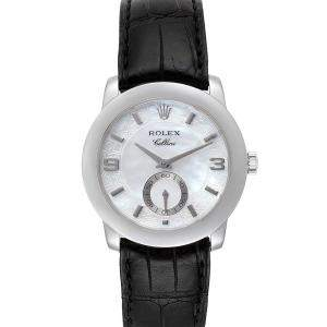 Rolex MOP Platinum Cellini Cellinium 5240 Men's Wristwatch 35 MM