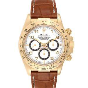 ساعة يد رجالية رولكس دايتونا كرونوغراف 16518 ذهب أصفر عيار 18 بيضاء مقاس 40 MM