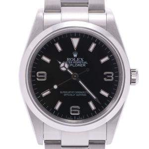 Rolex Black Stainless Steel Explorer 1 114270 Automatic Men's Wristwatch 35 MM