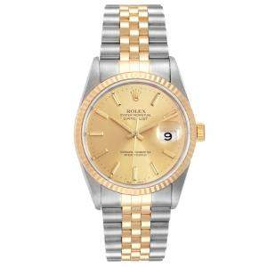 Rolex Champagne 18K Yellow Gold And Stainless Steel Datejust 16233 Automatic Men's Wristwatch 36 MM