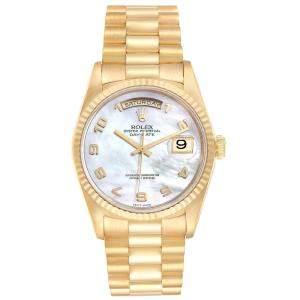 ساعة يد رجالية رولكس بريزدنت داي-ديت 18238 ذهب أصفر عيار 18 صدف 36 مم