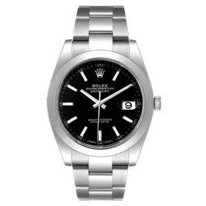 Rolex Black Stainless Steel Datejust 126300 Men's Wristwatch 41 MM