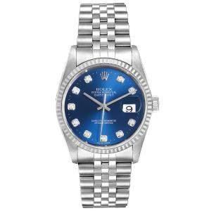 ساعة يد رجالية رولكس 16234  ديت جست ذهب أبيض عيار 18 وستانلس ستيل زرقاء 36 مم