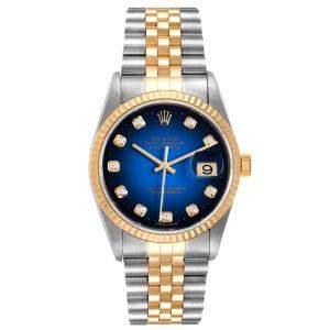 ساعة يد رجالية رولكس ديت جست 16233 ذهب أصفر عيار 18 وستانلس ستيل زرقاء 36 مم