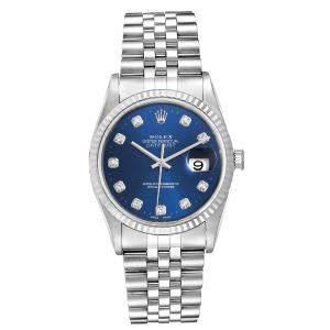 ساعة يد رجالية رولكس ديت جست أوتوماتيك 16234 ذهب أبيض عيار 18 وستانلس ستيل 36 مم