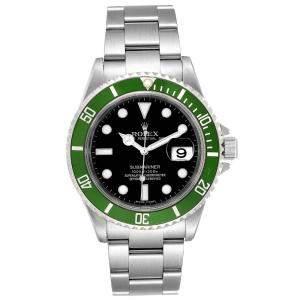 ساعة يد رجالية رولكس صب مارينر 50th أنيفرسري 16610LV ستانلس ستيل سوداء 40 مم