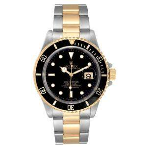 Rolex Black 18K Yellow Gold And Stainless Steel Submariner 16613 Men's Wristwatch 40 MM
