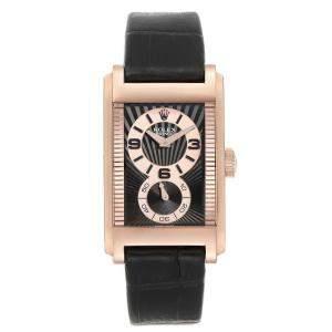 Rolex Black 18K Rose Gold Cellini Prince 5442 Men's Wristwatch 28 x 47 MM