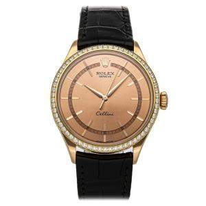 Rolex Pink Diamonds 18K Rose Gold Cellini Time Only 50705Rbr Men's Wristwatch 39 MM