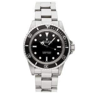 ساعة يد رجالية رولكس سابمارينر 5513 ستانلس ستيل سوداء 40 مم
