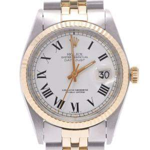 Rolex White 14K Yellow Gold And Stainless Steel Oyster Perpetual Datejust 1601 Women's Wristwatch 34 MM