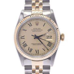 Rolex Champagne 18K Yellow Gold And Stainless Steel Datejust 16013 Automatic Men's Wristwatch 36 MM