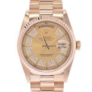 Rolex Champagne Diamonds 18k Yellow Gold Day-Date 18238MR Men's Wristwatch 36 MM