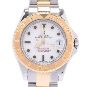 Rolex White 18K Yellow Gold And Stainless Steel Yacht-Master 168623 Automatic Men's Wristwatch 34 MM
