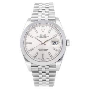 ساعة يد رجالية رولكس ديتجاست أوتوماتيك 126300 ستانلس ستيل بيضاء 41 مم