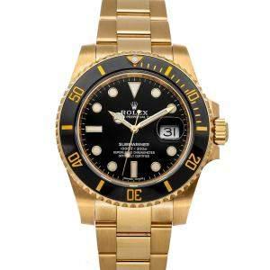Rolex Black 18K Yellow Gold Submariner Date 116618LN Men's Wristwatch 40 MM