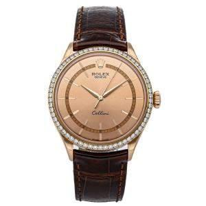 Rolex Salomon 18K Rose Gold Cellini Time 50705RBR Men's Wristwatch 39 MM