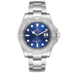 Rolex Blue Platinum Stainless Steel Yachtmaster 116622 Men's Wristwatch 40 MM