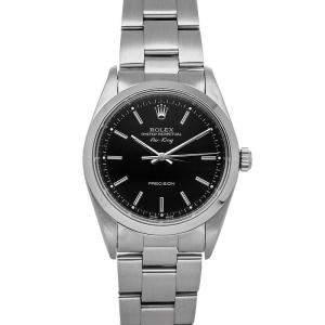 Rolex Black Stainless Steel Air-King 14000 Men's Wristwatch 34 MM
