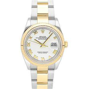 Rolex White 18K Yellow Gold And Stainless Steel Datejust 126233 Men's Wristwatch 36 MM